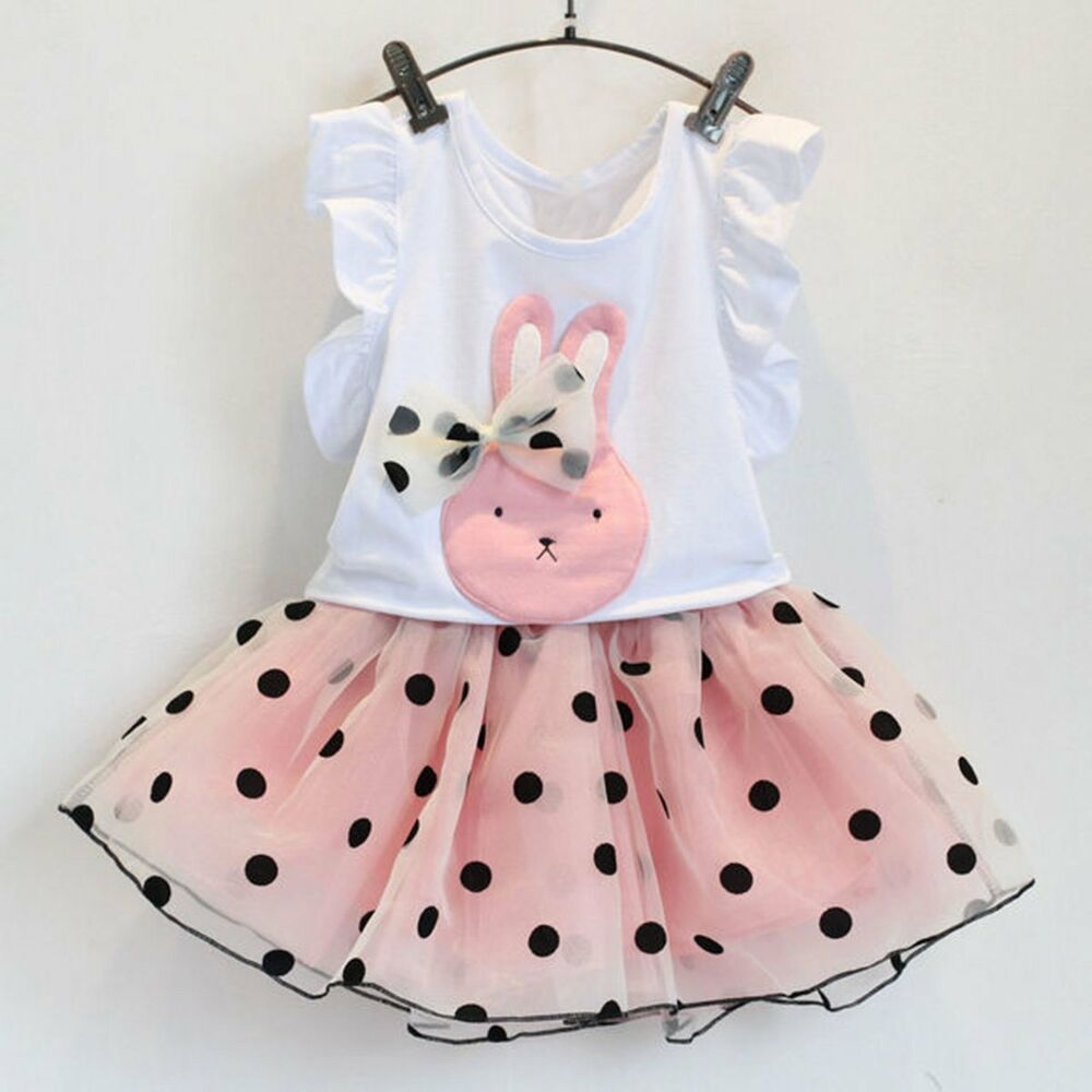 ae479e077fb0 Details about 2PCS Toddler Kids Baby Girls Outfits T-shirt Tops+Tutu Skirt  Dress Clothes Sets