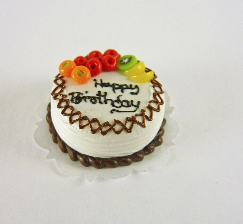 Details About Dollhouse Miniature Fruit Topped Happy Birthday Cake K2139