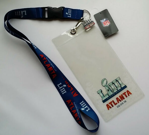 Super Bowl LIII 53 Atlanta GA NFL Game Day Lanyard Ticket Holder & Pin Combo