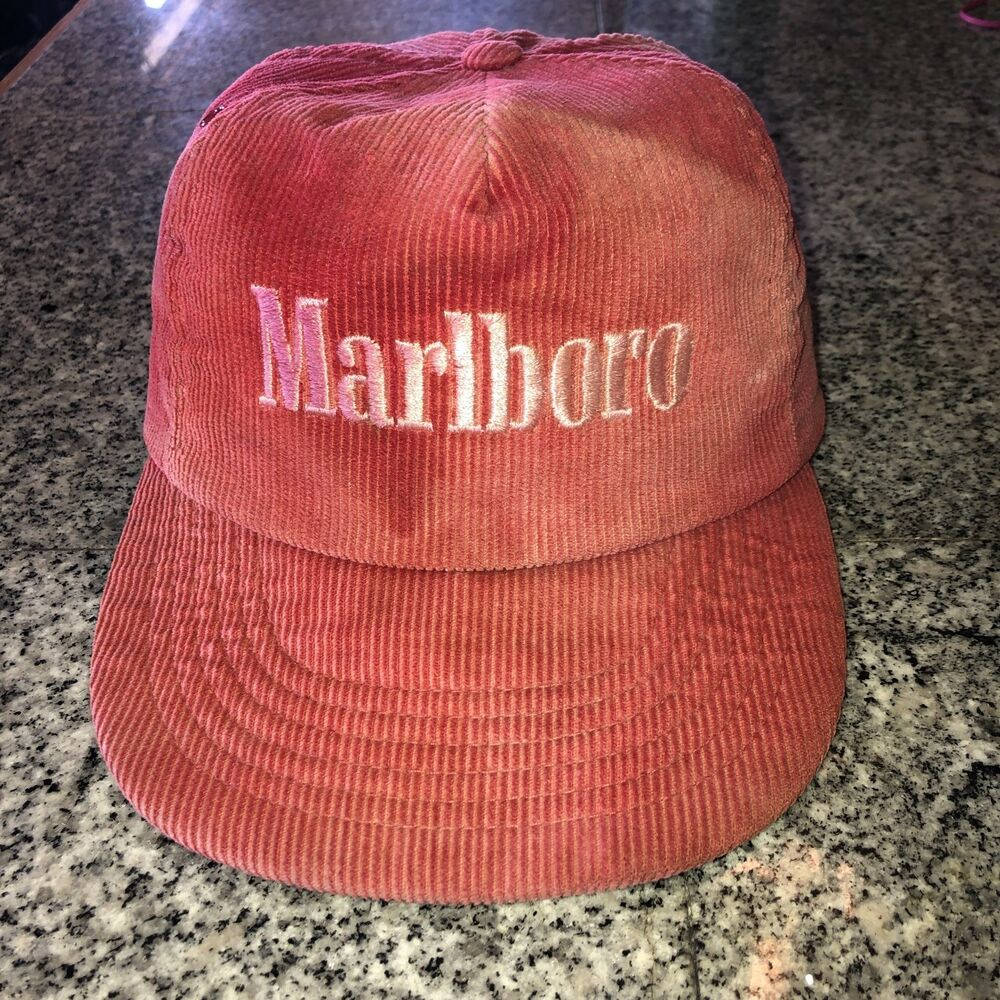 Details about Vintage Marlboro Corduroy Snapback Hat Red. Made 1990 Very  Fadded 0884b08e1bf