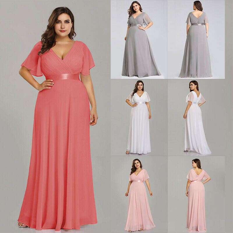 Ever-Pretty Plus Size Chiffon Long Bridesmaid Dresses Cap Sleeve ...