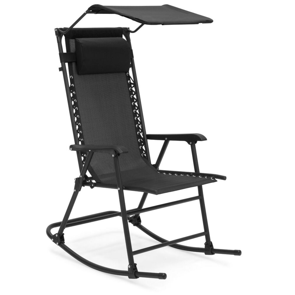 Details About Black Mesh Zero Gravity Folding Rocking Chair Canopy Outdoor Patio Furniture New