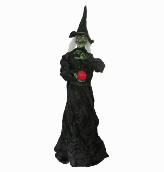 Green Witch & Apple Lifesize Standing Halloween Auto Activated Laughing Prop 76