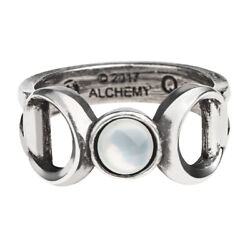 Alchemy of England Gothic Triple Goddess Crescent Moon Occult Pearl Ring R219