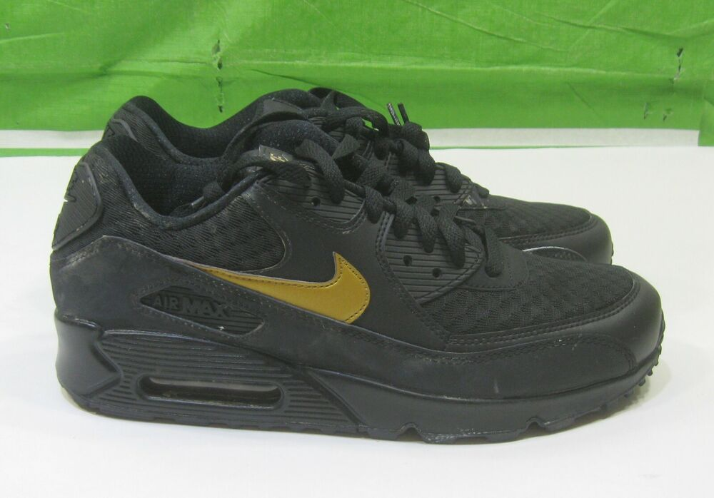 24ba816b3a2d Details about Nike Air Max 90 Essential Black Metallic Gold AV7894 001 Mens  Trainer Size 8.5