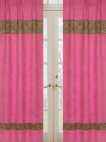 Details About Sweet Jojo Pink Cheetah Print Kid Window Treatment Panels Curtains Covering