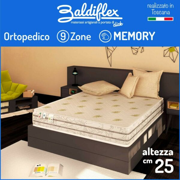 MATERASSO MATRIMONIALE 160X190 H25 CM 9 ZONE DIFFERENZIATE 7 CM MEMORY FOAM DUCK