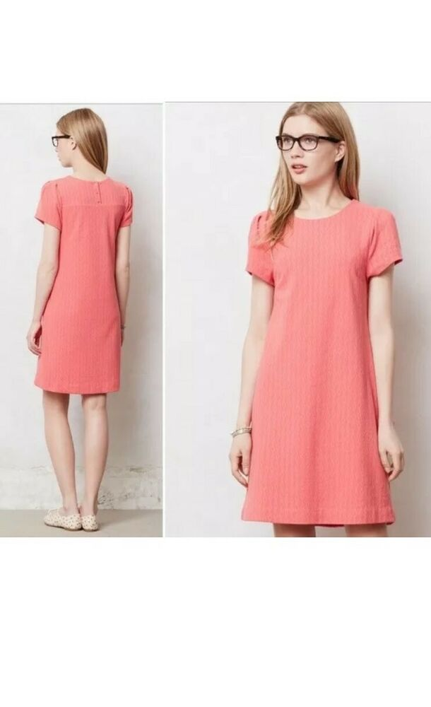 47b4923f0658 Details about Anthropologie Maeve Pink Coral Pink Shift Dress Cap Sleeve  Knit Size Medium