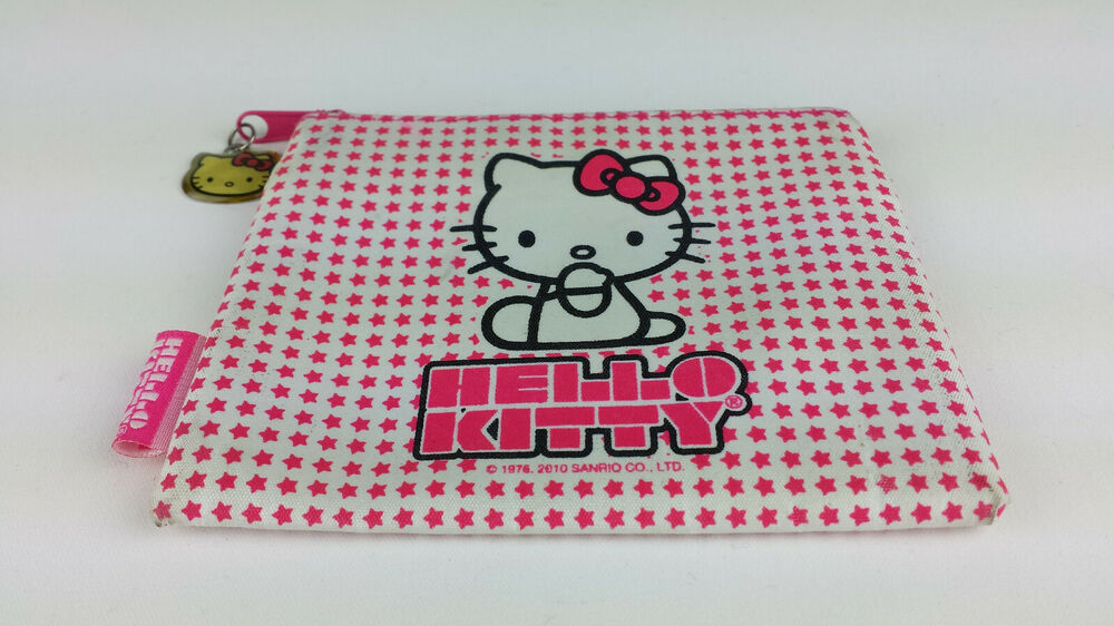 1d2f8bbfb0 Details about Sanrio Hello Kitty Cosmetic Makeup Coin Bag Pouch White with  Pink Stars Vintage