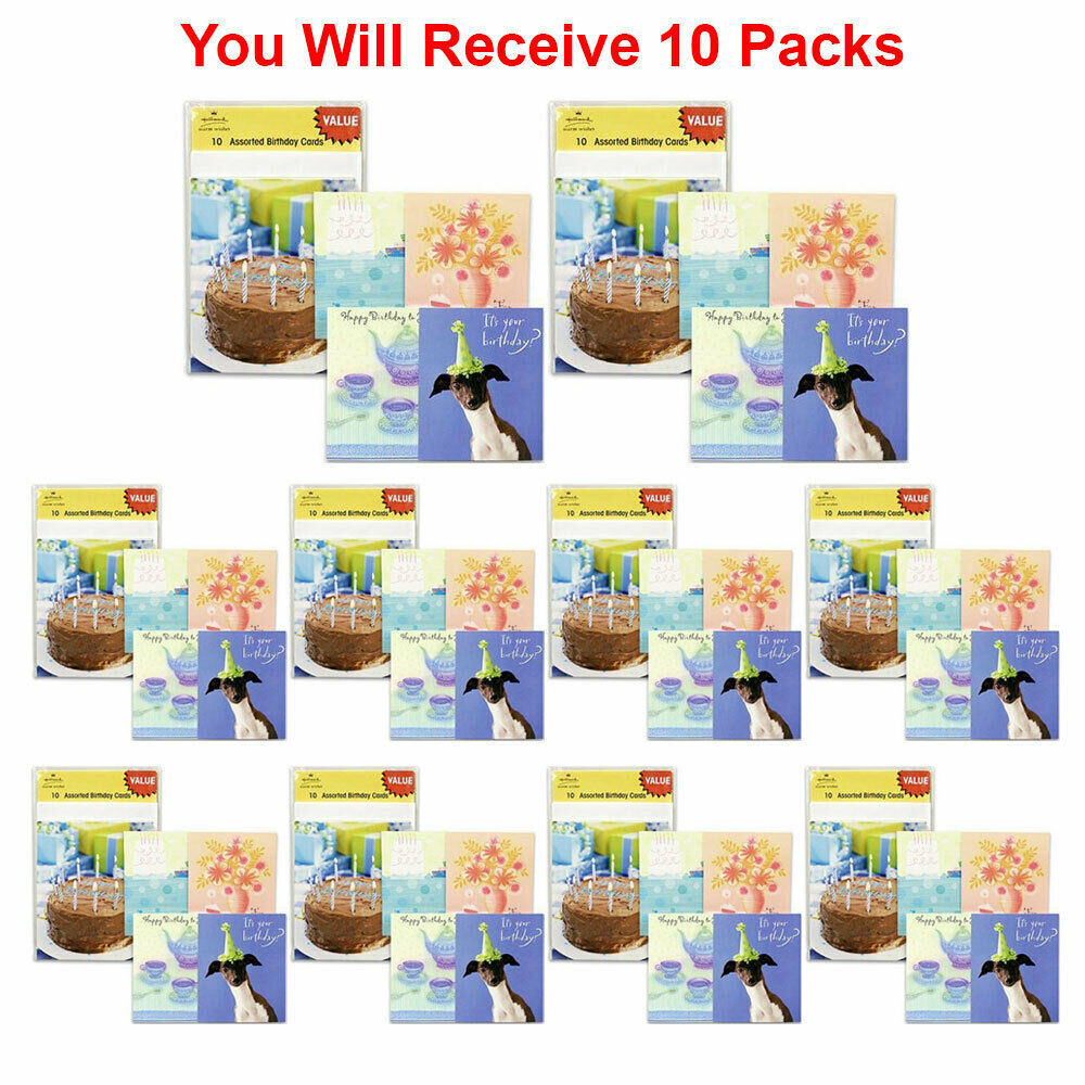10 Pack Hallmark Assorted Happy Birthday Card Greeting Gift Wish Party New