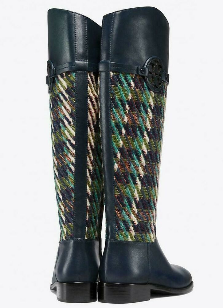 a50946164 Details about New  568 Tory Burch MILLER RIDING BOOT Navy Green Dogtooth  Tweed 7.5 or 9 NIB