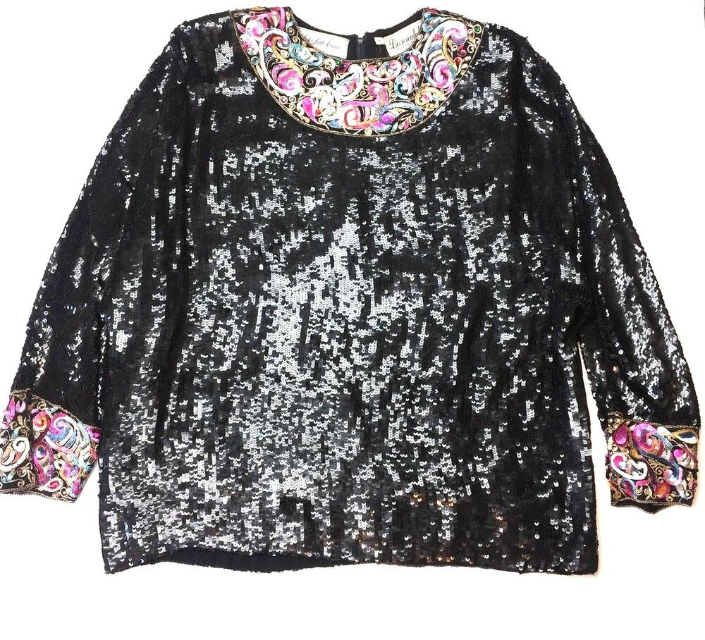 7f6a055b5fef57 Details about DONNATELLA Saks Fifth Avenue VINTAGE Black Sequin Beaded  HEAVY Top Formal b3p