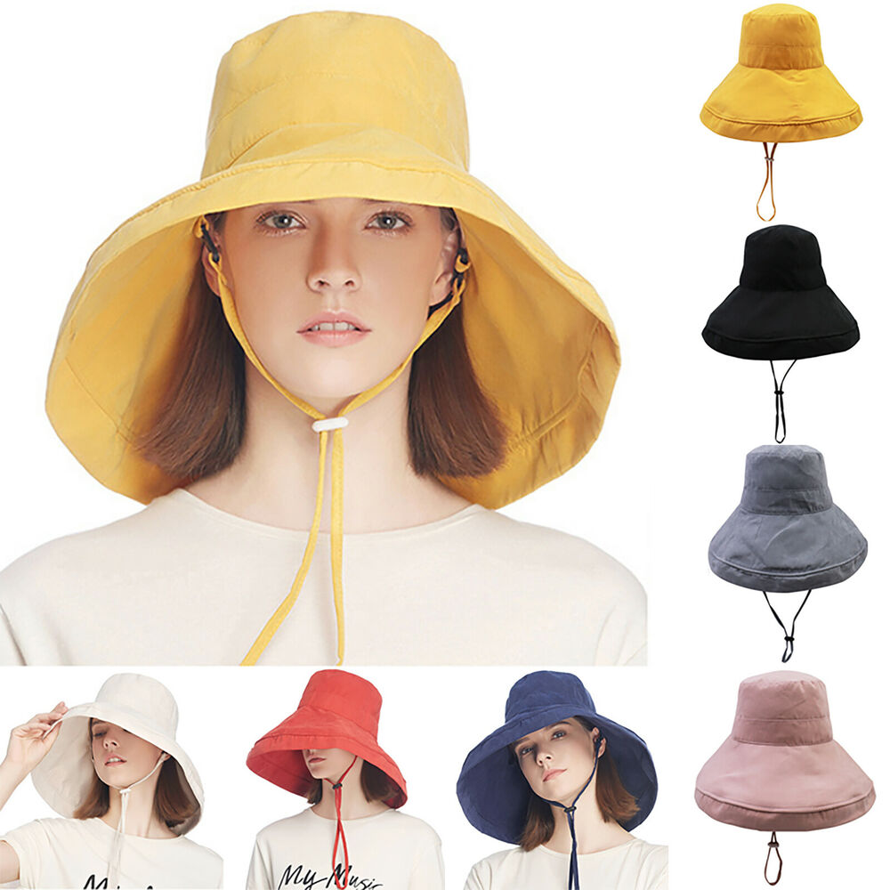 e7afbcca Details about Womens Anti-UV Fashion Wide Brim Summer Beach Sun Bucket Hat  Outdoor Fishing Cap