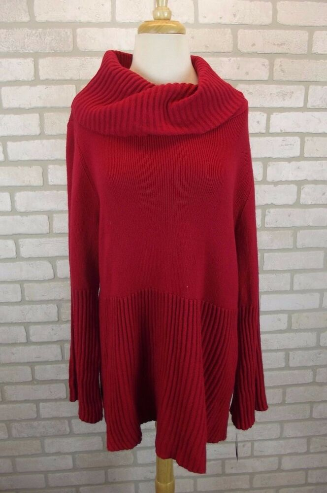 b536c2e12daa13 Details about NEW  56 Style   Co Red Womens Sweater Knit Top Sz. 2X XXL  Plus NWT Cowl Neck Red
