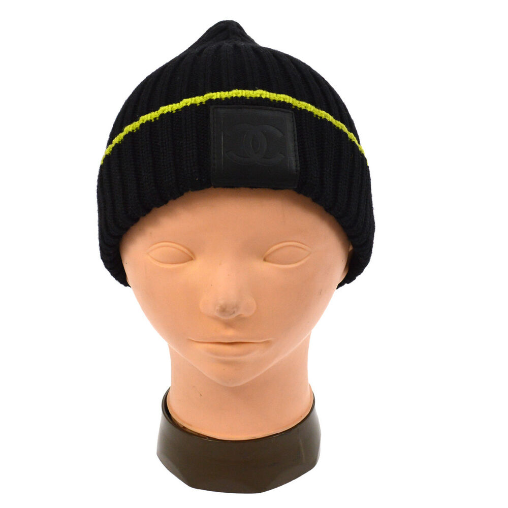 e8d49ae10f5 Details about Authentic CHANEL CC Logos Knitted Hat Black Wool Silk  Cashmere France A41193g