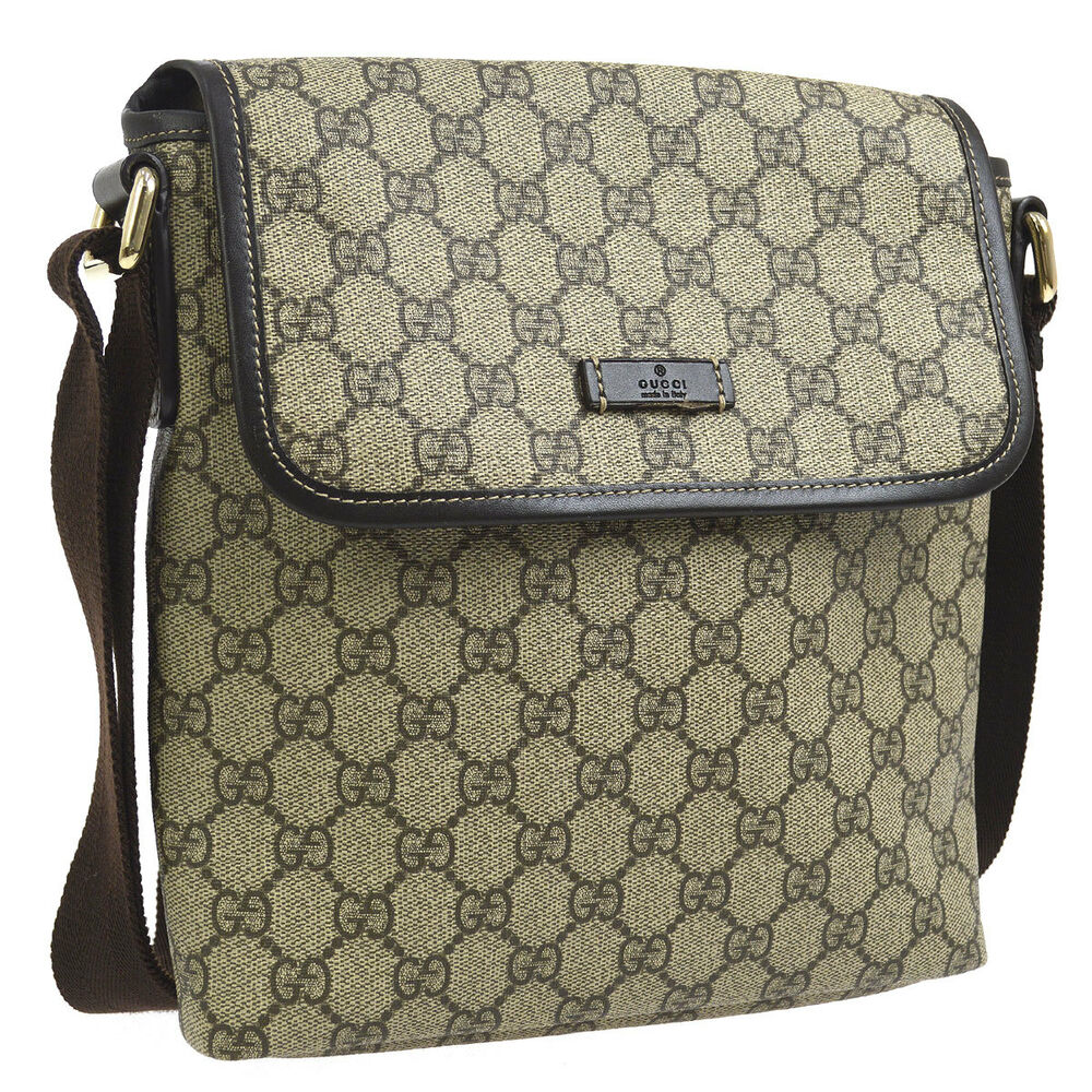 5c704f88f81a Details about Auth GUCCI GG Pattern Cross Body Shoulder Bag Brown PVC  Leather Vintage G03594