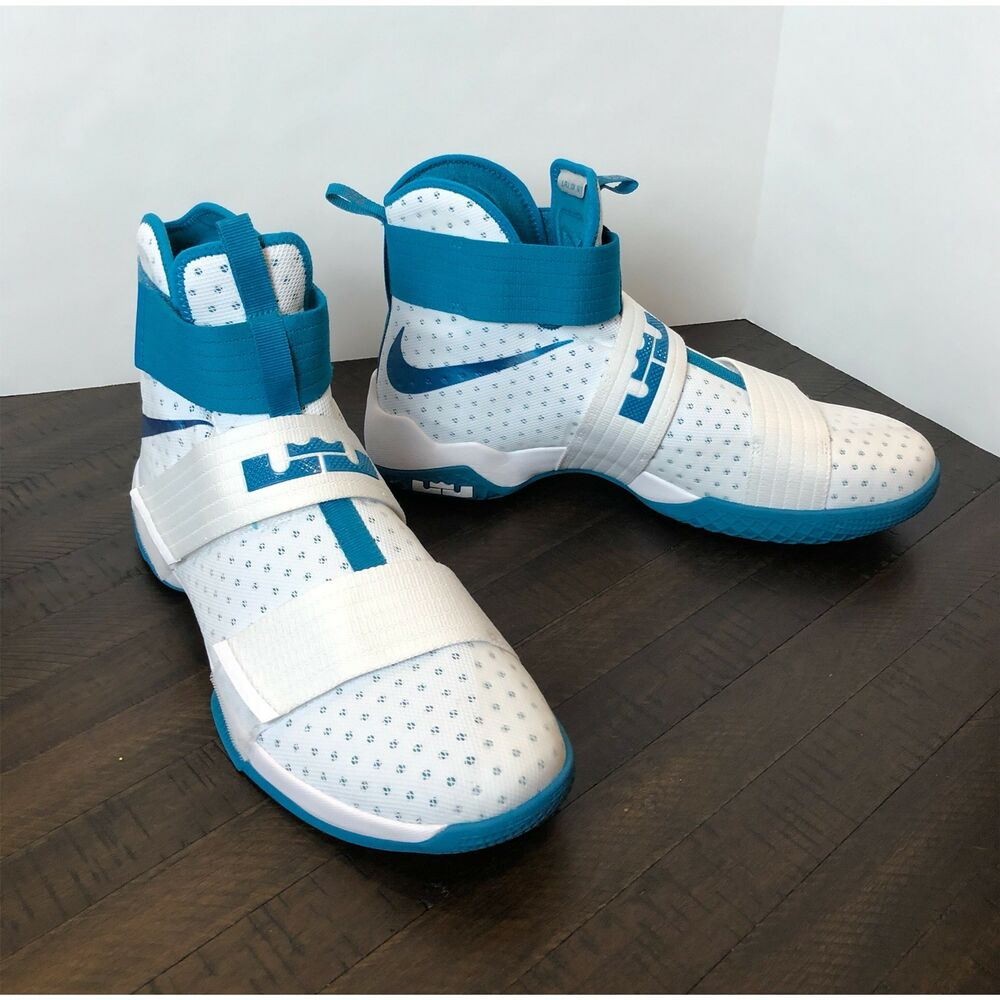 323777a5b64 Details about NEW! Nike Air Max Lebron LBJ Soldier 10 Teal White Sz 16 Mens  Basketball Shoes