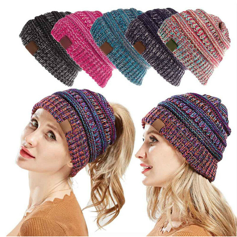 fb9da37a135206 Details about New Ponytail Beanie Hat Winter Skullies Beanies Warm Caps  Female Knitted AU