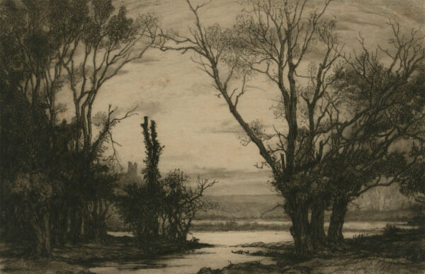 Early 20th Century Etching - Atmospheric River Landscape