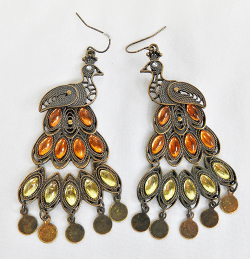 Pair of Beautiful Articulated Peacock Earrings in Autumnal Colours - NEW