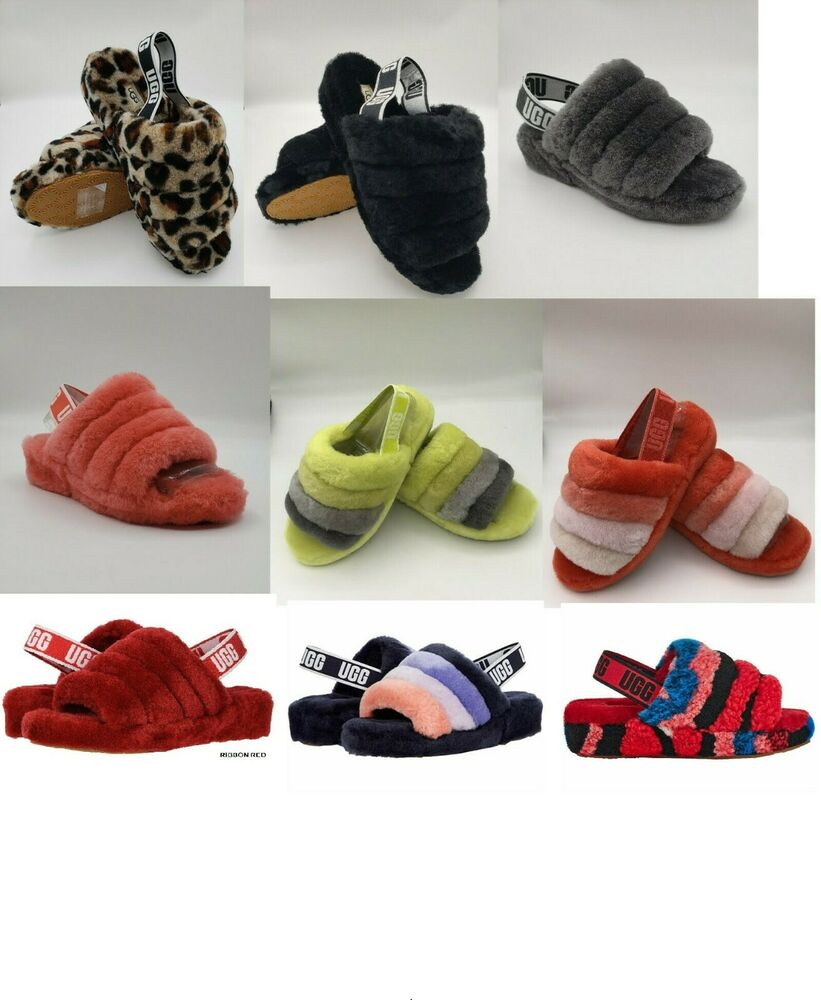 a346febc107c Details about UGG Australia Fluff Yeah Slide Sheepskin Slipper for women  Black and or Charcoal