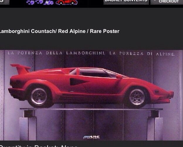 Lamborghini Countach Red Alpine Rack Original Car Poster Own It