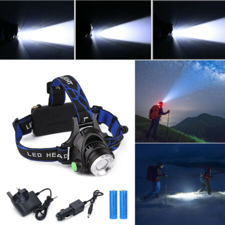 img-Rechargeable Tactical 10000LM T6 LED Headlamp 18650 Headlight Head Torch Lamp UK