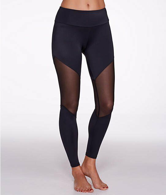 0e17b11a1ac75d Details about Onzie Womens High Rise Waisted Track Legging Black Mesh Size  X-Small