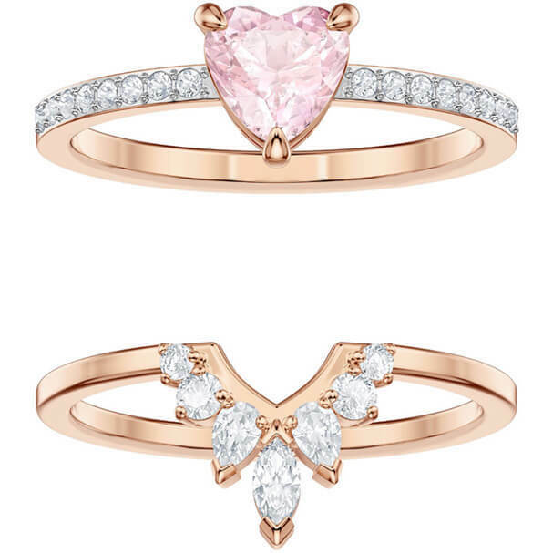 a2129e11c Details about ONE HEART RING SET SIZE 7 EUR 55 MULTI, ROSE GOLD 2019  SWAROVSKI JEWELRY 5446302