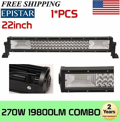 22''inch 270W LED Work Light Bar Tri-Row ComboTruck Boat 4WD PK 24/20
