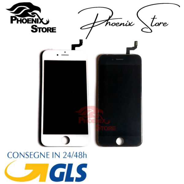TOUCH SCREEN LCD DISPLAY RETINA PER APPLE IPHONE 6S VETRO SCHERMO BIANCO + FRAME