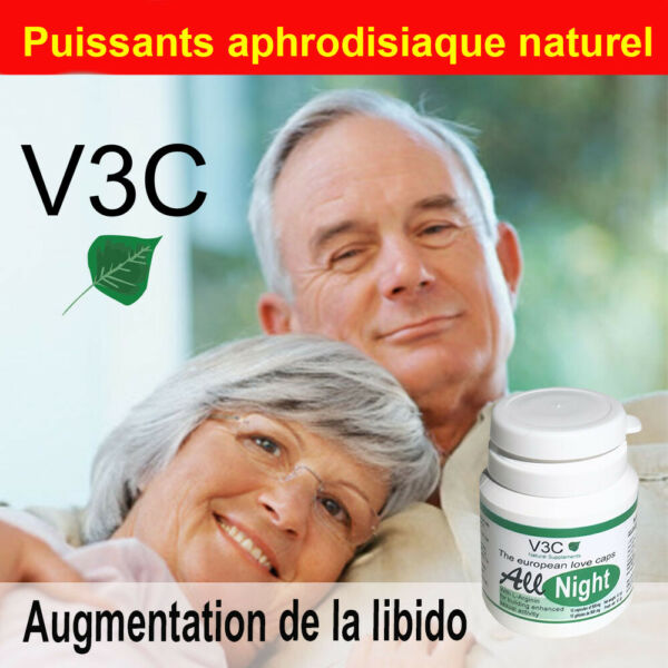 Aphrodisiaque homme stimulant sexuel All Night V3C nutrition USA 10 caps