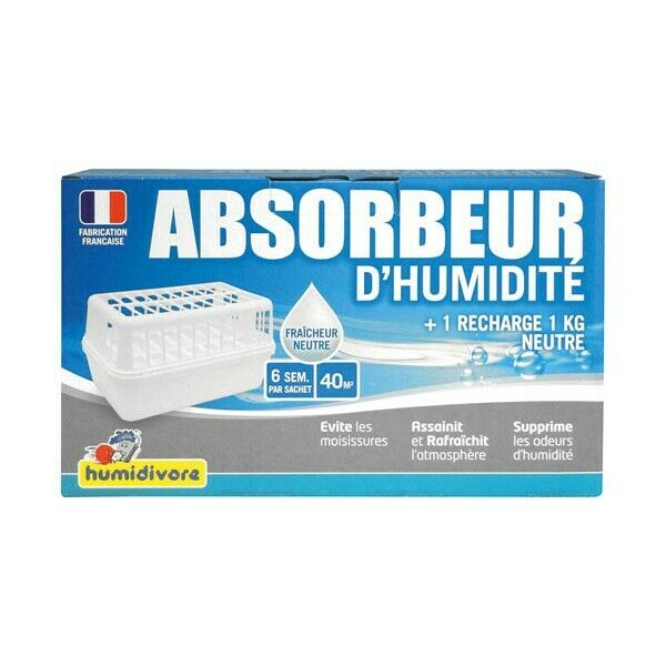HUMIDIVORE - Absorbeur humidité + 1 recharge 1 Kg  40 m²