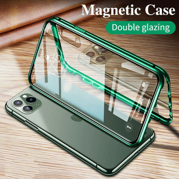 For iPhone XS Max XR X 8 7 6S + 360° Magnetic Adsorption Double Sided Glass Case