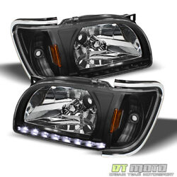 Kyпить For Black 2001-2004 Toyota Tacoma DRL LED Headlights Built In Corner Lamps 01-04 на еВаy.соm