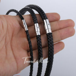 4/6/8MM Mens Black Braided Cord Rope Leather Necklace Choker w/ Magnetic Clasp