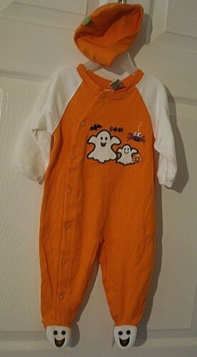 Nursery Rhyme Infant Halloween Ghost Footed Sleeper Outfit Hat 3-6 Months NEW