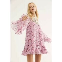 Kyпить NWT Free People Faded Daisy Frock Dress Size Medium Macrame Chiffon на еВаy.соm