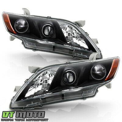 For 2007 2008 2009 Toyota Camry Black Projector Headlights Headlamps Left+Right