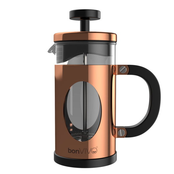 bonVIVO Kaffeebereiter, French Press, Kaffeepresse Kaffee-Kocher in Kupfer 0,35l