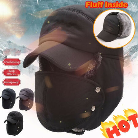 img-Men Trapper Aviator Trooper Earflap Hat Windproof Winter Ski Face Mask Cap Warm.