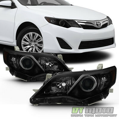 For [Black Smoke] 2012 2013 2014 Toyota Camry Headlights Headlamps Left+Right