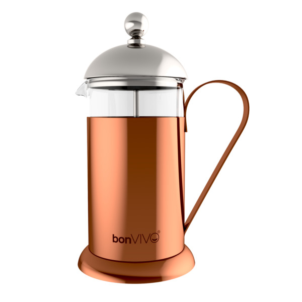bonVIVO Design-Kaffeebereiter French Press Kaffeepresse Kaffee-Kocher Kupfer 1l