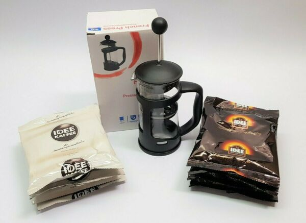French Press Kaffeebereiter 350 ml + Idee Kaffee im Set Geschenk Single