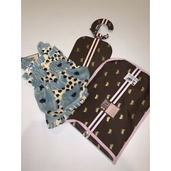Juicy Doggy Couture Dotty Floral Terry Cloth Smocked Boutique Dog Dress Blue NWT