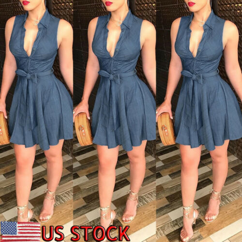 Womens Summer Bodycon Denim Sleeveless Short Dress Party Evening Mini Dresses