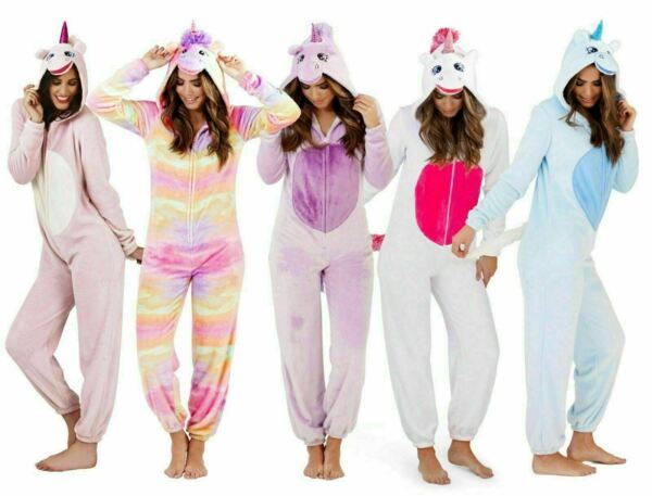 Royaume-UniCute Full Length Fleece Hooded 3D Unicorn All-In-One , Adult 6-22