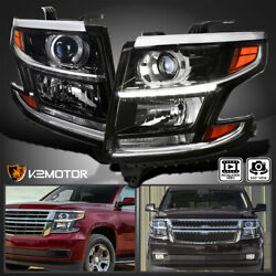 For 2015-2020 Chevy Tahoe Suburban Black LED Strip Projector Headlights Lamp L+R