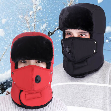 img-Aviator Trapper Hat Mens Womens Trooper Earflap Face Mask Warmer Ski Snow Cap