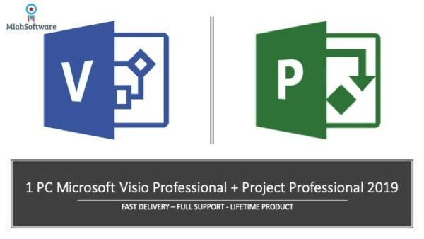 Microsoft Visio Professional + Project Professional 2019 1 PC key + Link!